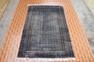 Silk Oriental Rug Geometric Design Floor Mat Hand Knotted Rug 4x6 ft Grey Color