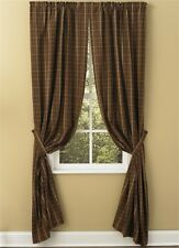Prim Country Tanner Lined Panel Curtains 72WX84L Brown Black Tan Plaid Cotton