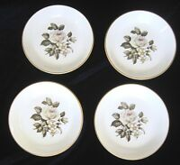 Royal Worcester Bone China Butter Pats or Coasters - Grey Roses - Set of 4