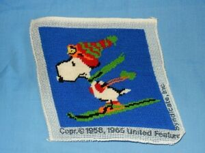Vintage Peanuts Snoopy Skiing Needlepoint Finished Picture