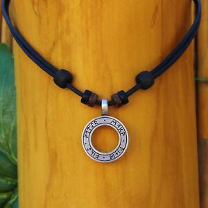 Lederhalskette Lederkette Halskette Wikinger Herren Damen Odin Thor 4 Elemente