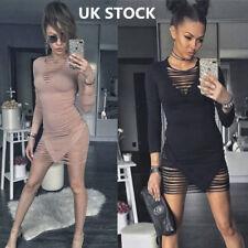 Women Low Cut Out Stripe Tops Ladies Long Sleeve Bodycon Clubwear Night Dress