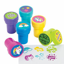 24 Unicorn Stampers Self-Inking Rainbow Toys Prizes Kid's Birthday Party Favors