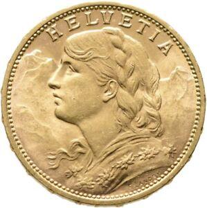 Schweiz 20 Franken (Vreneli) 1913 B GOLD Münze Coin
