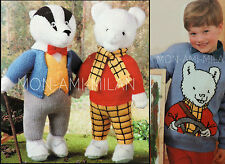 ALAN DART Knitting Pattern RUPERT BEAR BILL BADGER TOYS & RUPERT SWEATER 24-30""