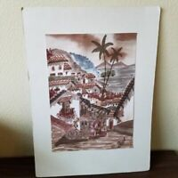 Puerta Vallarta Painting Drawing Market Local Artist Beach Mountain Scene