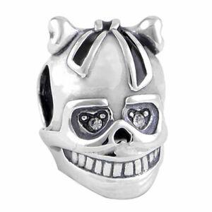 Skull Charm Bracelet Bead - S925 Sterling Silver - Day of the Dead Skull & Bones