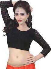 Ready Made Black Lycra Free Size Saree Choli Designer Sari Top Blouse-RC112