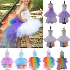 RAINBOW UNICORN TUTU DRESS COSTUME Wedding Party Cosplay Fancy Dress Girls Skirt