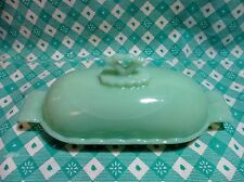 Jadeite Green Glass Anne 1 Stick Butter Dish with Lid in Excellent Condition