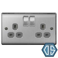 BG Nexus NBS22G Brushed Steel Satin Chrome Double Socket 2 Gang Twin 13 Amp Grey