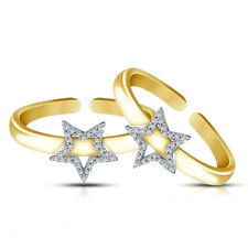 0.22 Ct Diamond star Adjustable Toe Ring 925 Silver Ladies 14K Yellow Gold Over