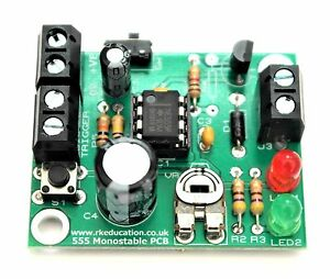 Beginners Electronic Project Kit - 555 Monostable Timer Project PCB - UK Seller