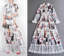 White Cat Print Bow Pleated Long Dress Runway Evening Holiday 75t