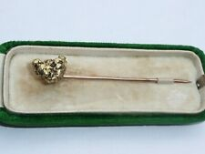 SUPERB BOXED ANTIQUE SOLID 24CT GOLD NUGGET TIE STICK PIN 3.7 GRAMS
