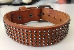 "Fashion Vintage Rivet / Studded Genuine Leather Wristband Bracelet /Bangle 6""-8"""