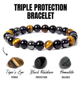 Black Obsidian Hematite Tiger Eye Bracelet Men Women Gemstone Crystal Jewellery