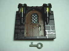 LEGOS - One NEW Brown Door with Key on Black Stone Pattern Frame with 2 Torches