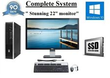 "Fast piccoli HP 8200 Quad Core i5 128Gb SSD 8Gb 22"" schermo Windows 10 PC DEKSTOP"