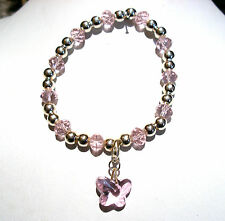 'AAA' GRADE PINK CRYSTAL GLASS BEADED STRETCH BUTTERFLY CLIP  CHARM BRACELET