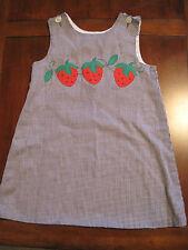 Kelly's Kids Girl Black Plaid Check Strawberry Lined Jumper Dress Size 6 EUC