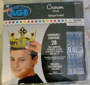 Add an Age Birthday Customizable Crown Kids Age Stickers: EUC Gold Pre-Owned EUC