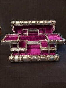 HANDMADE INDIAN SILVER METAL JEWELLERY BOX, PURPLE VELVET INTERIOR & MIRROR