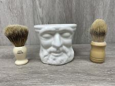Rare Burt's Bees Classic Ceramic Shave Mug and 2 Natural Bristle Brushes.