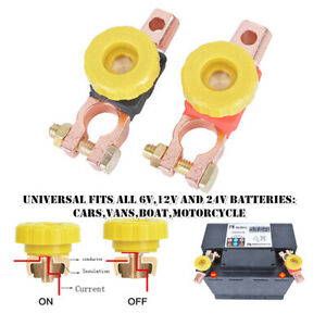 1Pair Car Battery Link Terminal Quick Cut-off Disconnect Master Kill Shut Switch