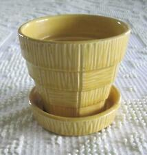 "McCoy Pottery Yellow Basketweave 4"" Flower Pot Attached Underplate"