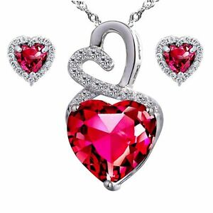 Created Ruby Double Heart Pendant Necklace Earring Set Sterling Silver w/ Chain