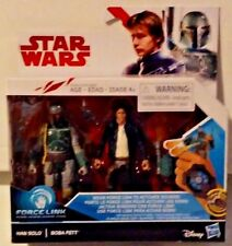 Star Wars Force Link 2-Pack Han Solo & Boba Fett Action Figures New MISB