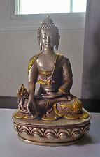 13 inch tall Gilt Metal Medicine Buddha Statue Embossed w Auspicious Symbols 7lb