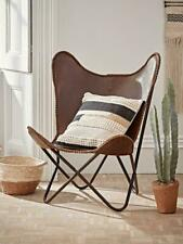 Butterfly Chair Genuine Leather Handmade Solid Iron Frame Industrial LoungeChair