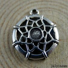Antique Silver Alloy Mini Spider Cobweb Shape Charms Crafts Findings 43x 50937