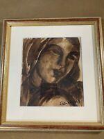 "Armand Schonberger (1885 -1974) ""Female Portrait"" Gouache Painting - Framed"