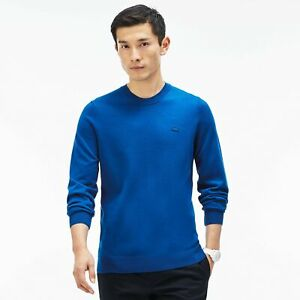 Lacoste Jersey Crewneck Sweater Size 7 / XXL NWT Sapphire Blue Cotton Pullover
