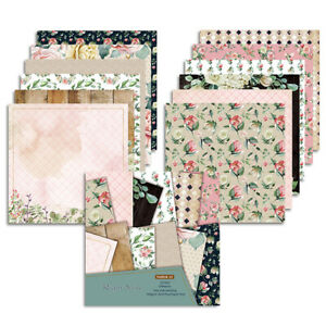 """12pcs 12"""" Floral Paper Pad Scrapbooking Single-sided Journal Photo Album Card"""