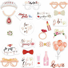 23PCS Photo Booth Props Wedding Pink Team Bride To Be Hen Party Birthday Selfie