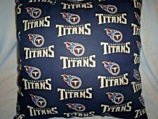 "16.5""x16.5"" Handmade Pillow Made w/Tennessee Titans w/Titan Blue Back"