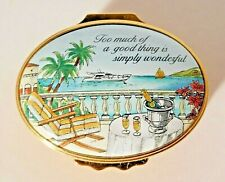 """Halcyon Days Enamel Box """"Too Much of a Good Thing is Simply Wonderful"""" MINT"""