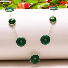 "Green Onyx Rings, Emerald Quartz Handmade Ethnic Jewelry Necklace 18"" N-586"