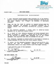 1991 seattle mariner topps contract Erik hanson, sy berger signed autograph