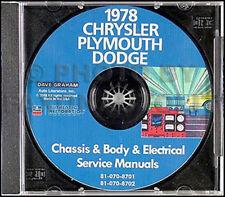1978 Dodge Auto Manuale di Negozio Cd-Rom Charger Magnum Diplomat Aspen