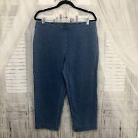 Pure J Jill Medium Capri Pants Blue Indigo Slim Crops Elastic Waist Stretch B21