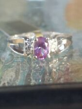 Alexandrite Oval Cut And Diamond Ring 10k White Gold