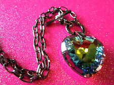 Prism Heart Gun Metal Toggle Necklace 16 Inches