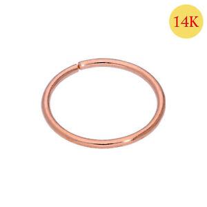 Nose Ring 14K Carat Genuine Rose Gold Earring Lip Piercing Hoop 20g 10mm