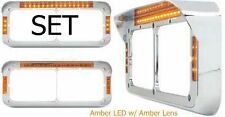 Headlight Bezel Visor Rect Dual Light LED Peterbilt Freightliner Kenworth (SET)