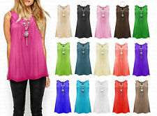 Womens Gypsy Frill Necklace Sleeveless Summer V Neck Plus Size Blouse Top Vest
